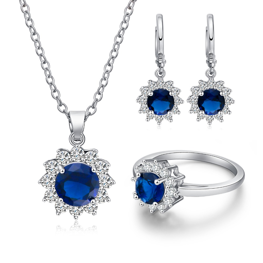 电镀S925银蓝宝石王妃耳钉女气质耳环项链戒指首饰品三件套装流行