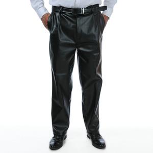 男士春秋皮裤男大码中年男装大码皮裤中老年直筒宽松休闲高腰男裤