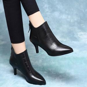 2019新款中跟高跟鞋秋冬季小跟短靴