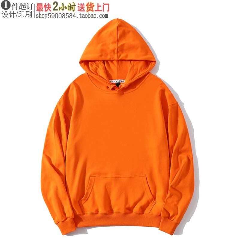 Ls-908 solid color cotton shoulder drop Pullover Hooded Sweatshirt custom 500g printed text pattern orange