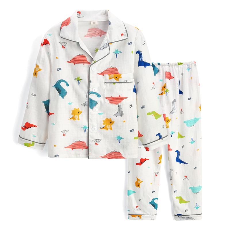 儿童睡衣春秋夏季纯棉双层纱布男童中大童长袖薄款空调家居服套装满49元可用3元优惠券