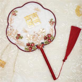 婚礼团扇八瓣六瓣团扇中式 鹿笛中式 手捧花DIY材料结婚合金真丝