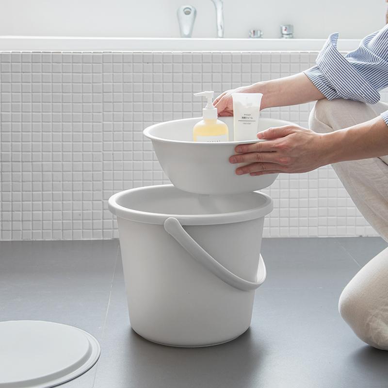 带盖塑料水桶/家用宿舍洗衣桶手提储水桶加厚圆桶清洁 洗脸盆套装