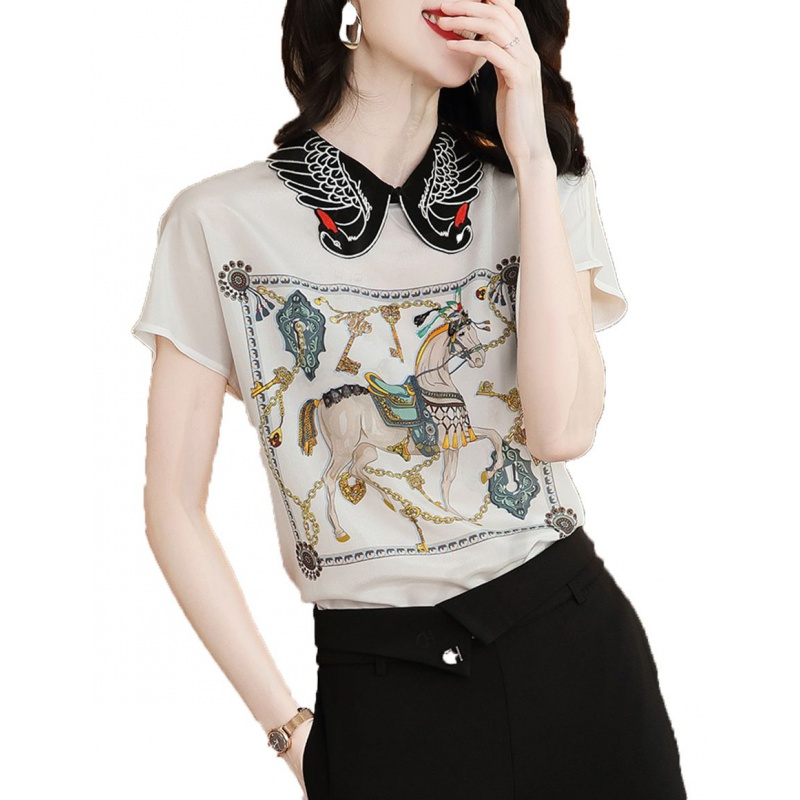 Silk printed shirt 2020 summer new casual short sleeve womens top retro embroidered Square Collar white shirt