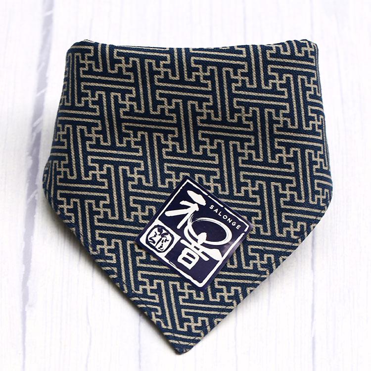 日本和风纯棉厚款狗猫小型犬格纹围巾口水巾三角巾泰迪博美柴犬