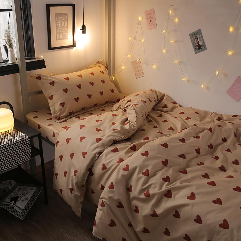 韩式chic风网红同款比心被套床单四件套3床上用品学生宿舍三件套4
