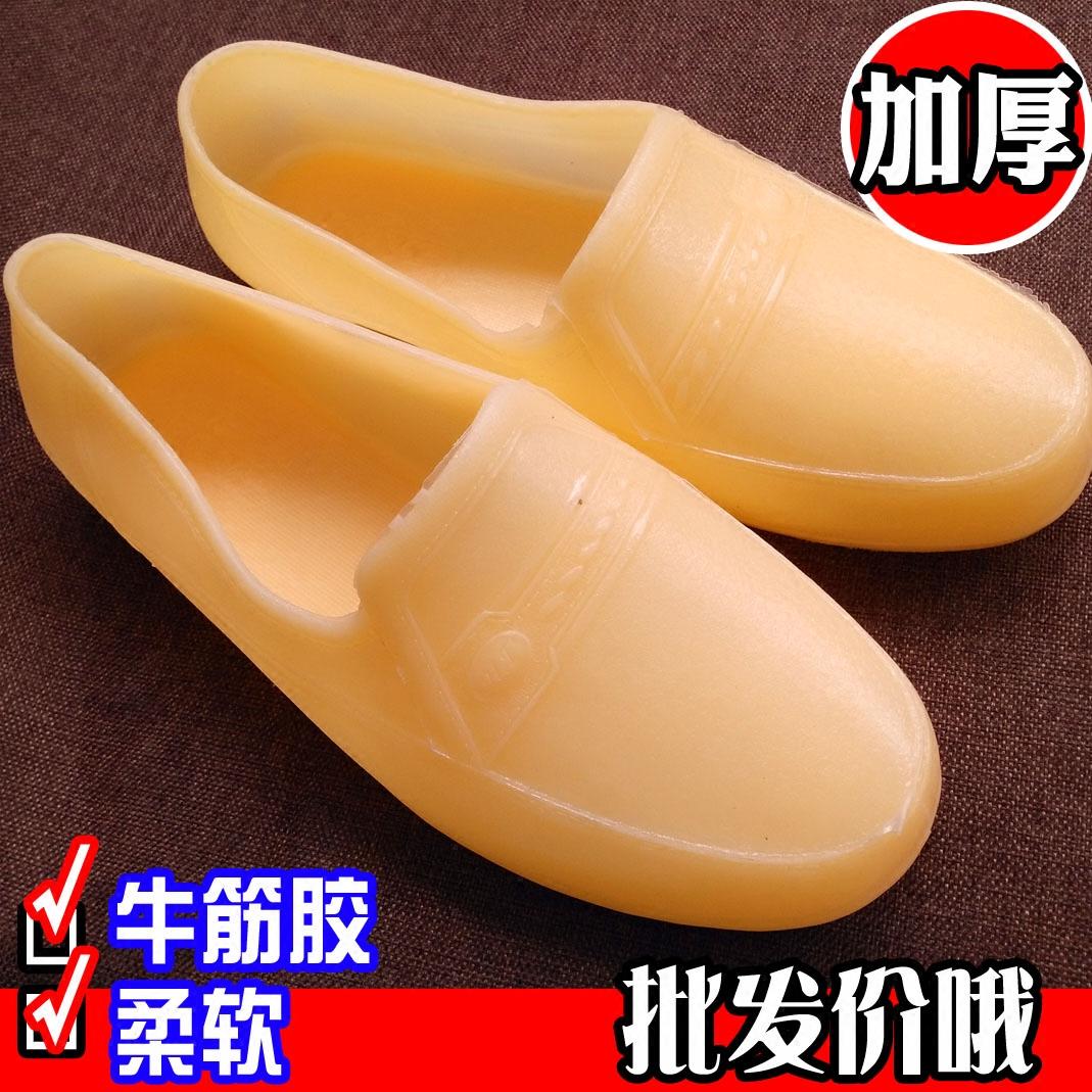 牛筋胶鞋雨鞋生胶工地水鞋防水低帮塑胶男士黄色塑料建筑鞋厚款