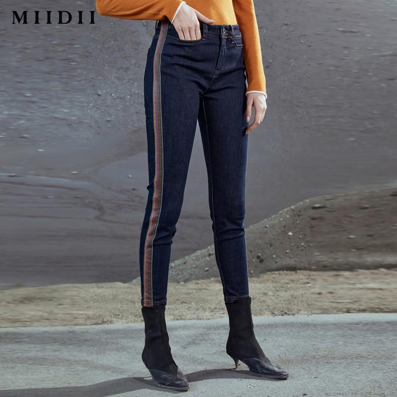 【商场同款】MIIDII/谜底20冬新品紧身牛仔裤侧缝拼接204MK2461