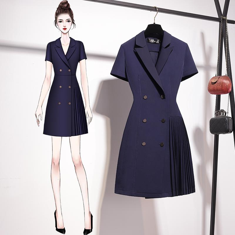 2021年夏小个子双排扣西装连衣裙女修身显瘦百褶气质小香风a字裙