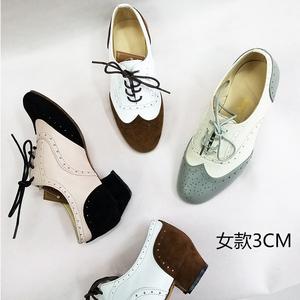 定制多色牛皮布洛克女单鞋平跟鞋子英伦风真皮swing 复古系带女鞋