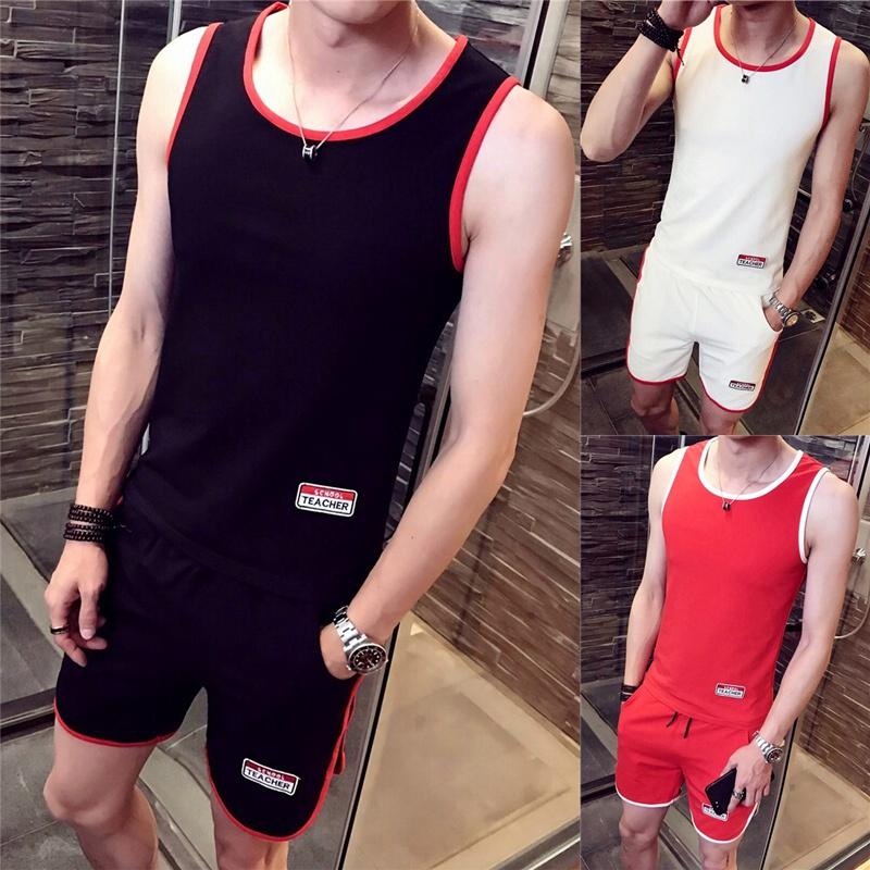 夏季男士背心套装潮流个性潮牌紧身一套男土马甲夏天外穿薄款时尚