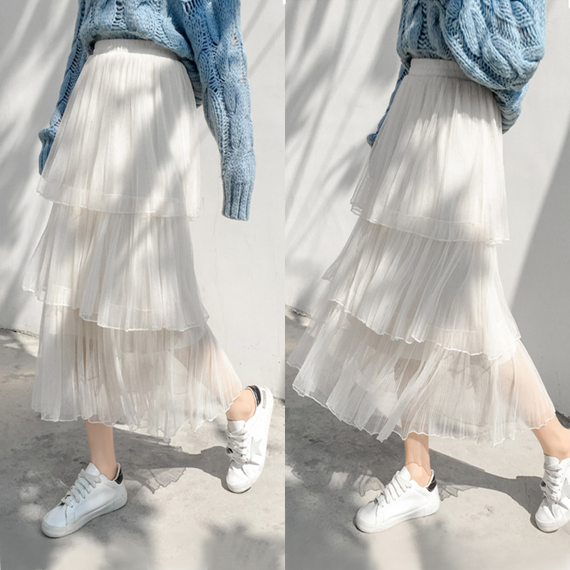 Mesh skirt in autumn and winter womens A-line and knee college style small man is tall, sweet and versatile, long to ankle
