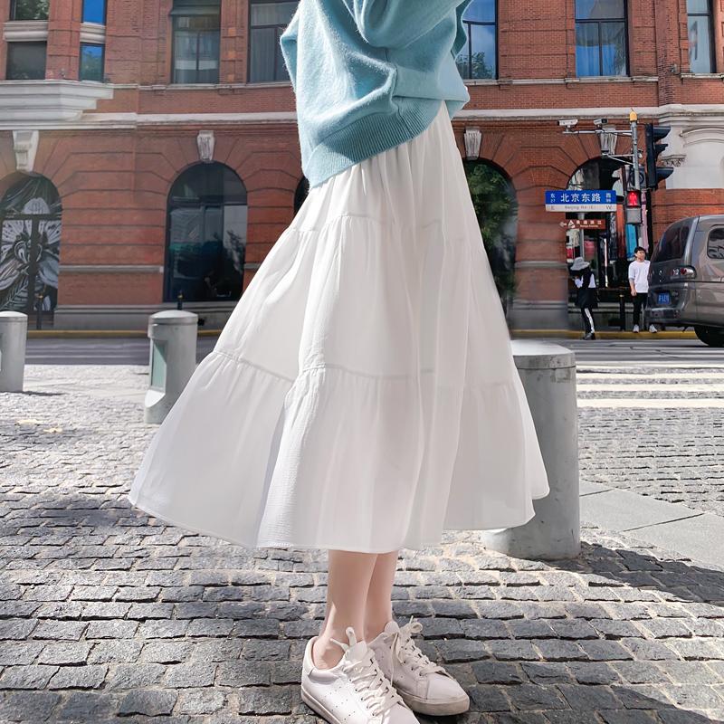 半身裙女夏中长款雪纺长裙白色蛋糕裙A字中式高腰网纱裙春秋裙子 thumbnail