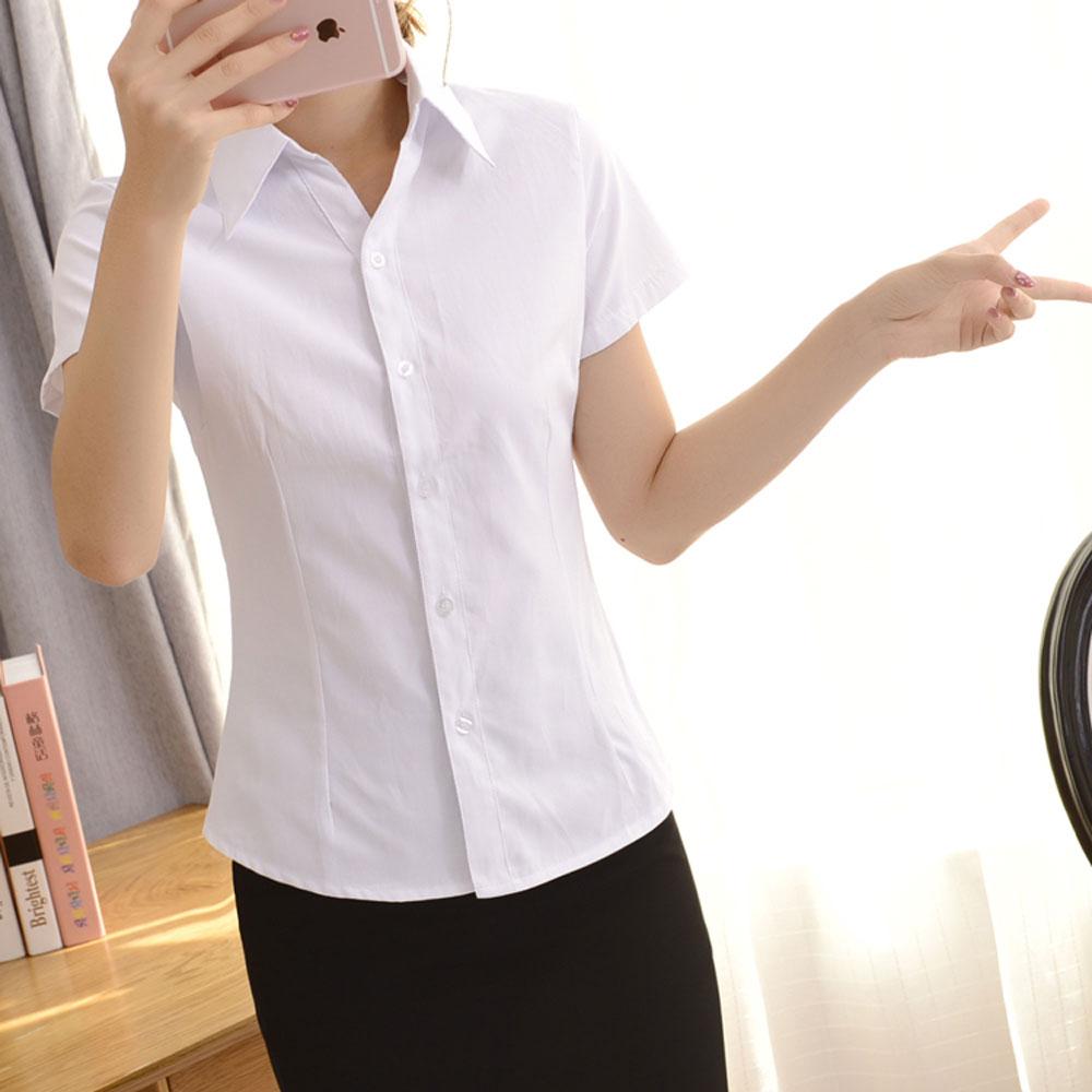 [小慧家]白衬衫短袖职业条纹V领尖领修身工作服正装斜纹衬衣女装