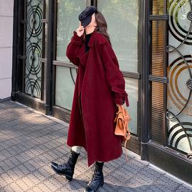 蝴蝶结赫本风红色毛呢外套女中长款过膝大衣2020流行纯色加厚夹棉