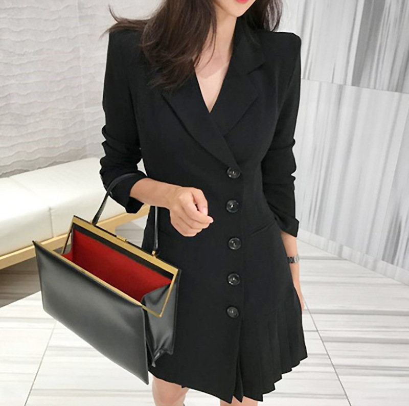 Liberate your big long legs ~ins new fashion suit skirt pleated slim fit medium long small suit coat dress