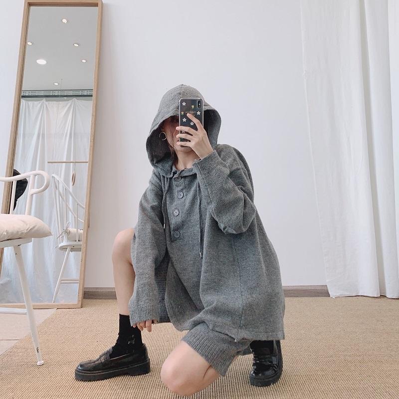 毛线衣带连帽卫衣中长款短裤套装潮