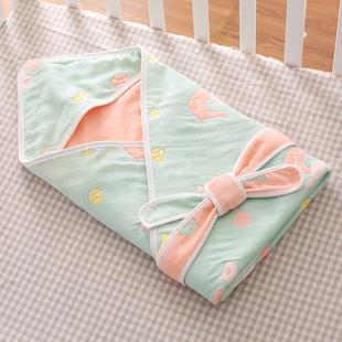 婴儿包被新生儿春夏季纯棉纱布抱被