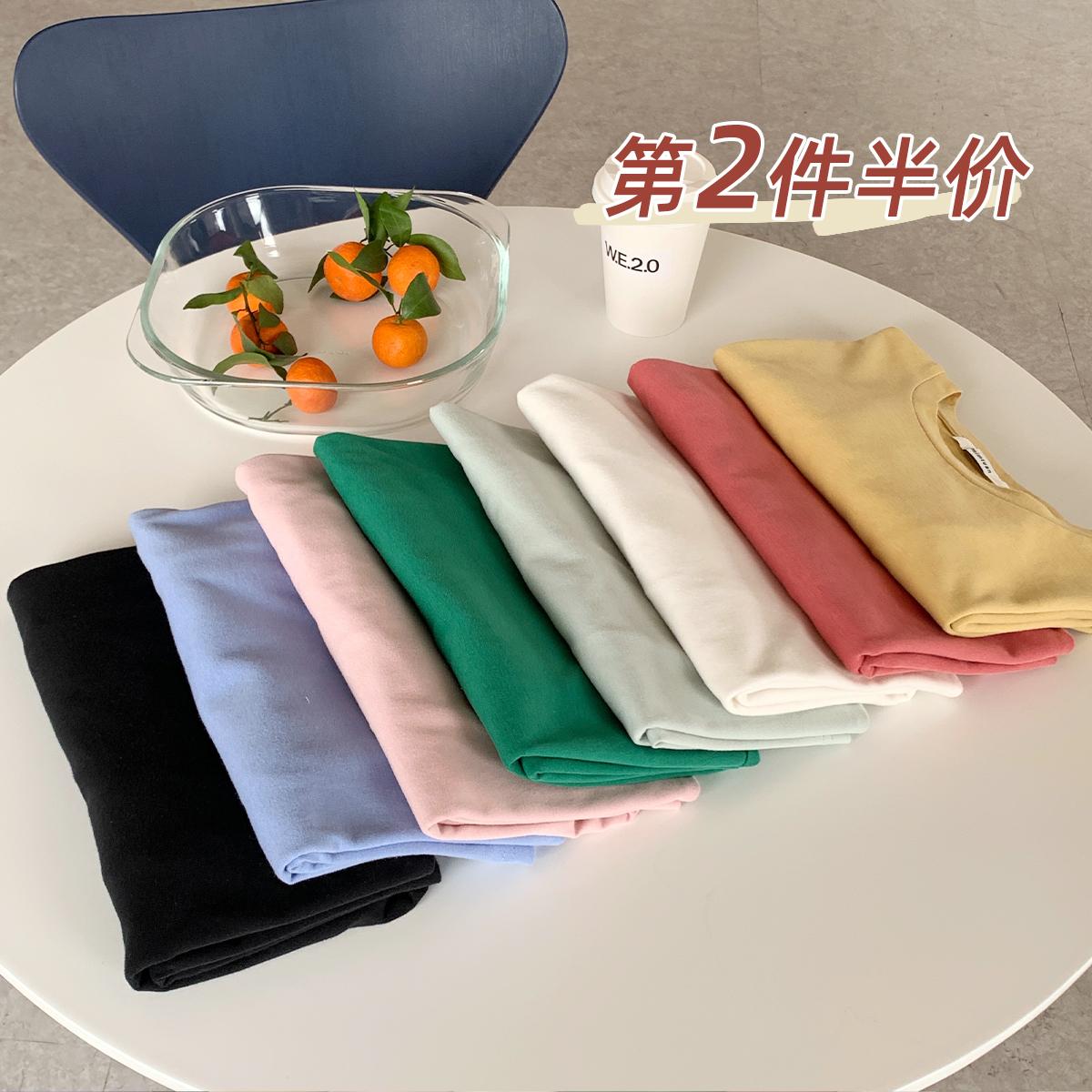 陆小团团2021夏季新款棉T恤女韩版纯白色宽松显瘦纯色打底短袖衫