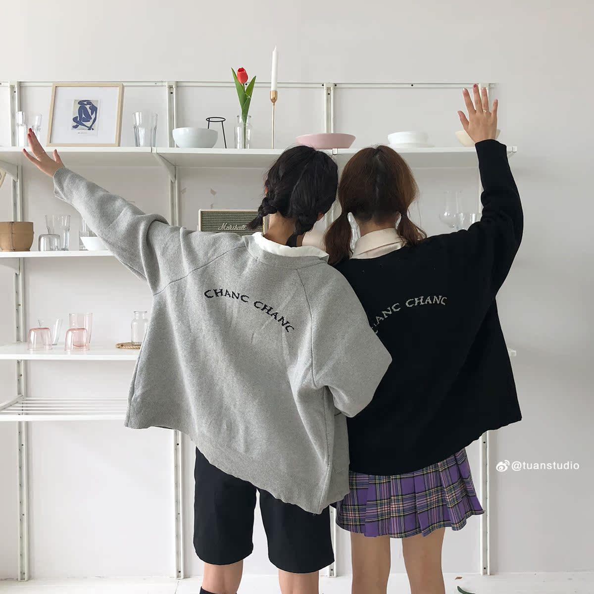 陆小团团 早秋毛衣开衫外套2018韩国新款后背字母显瘦上衣女装女