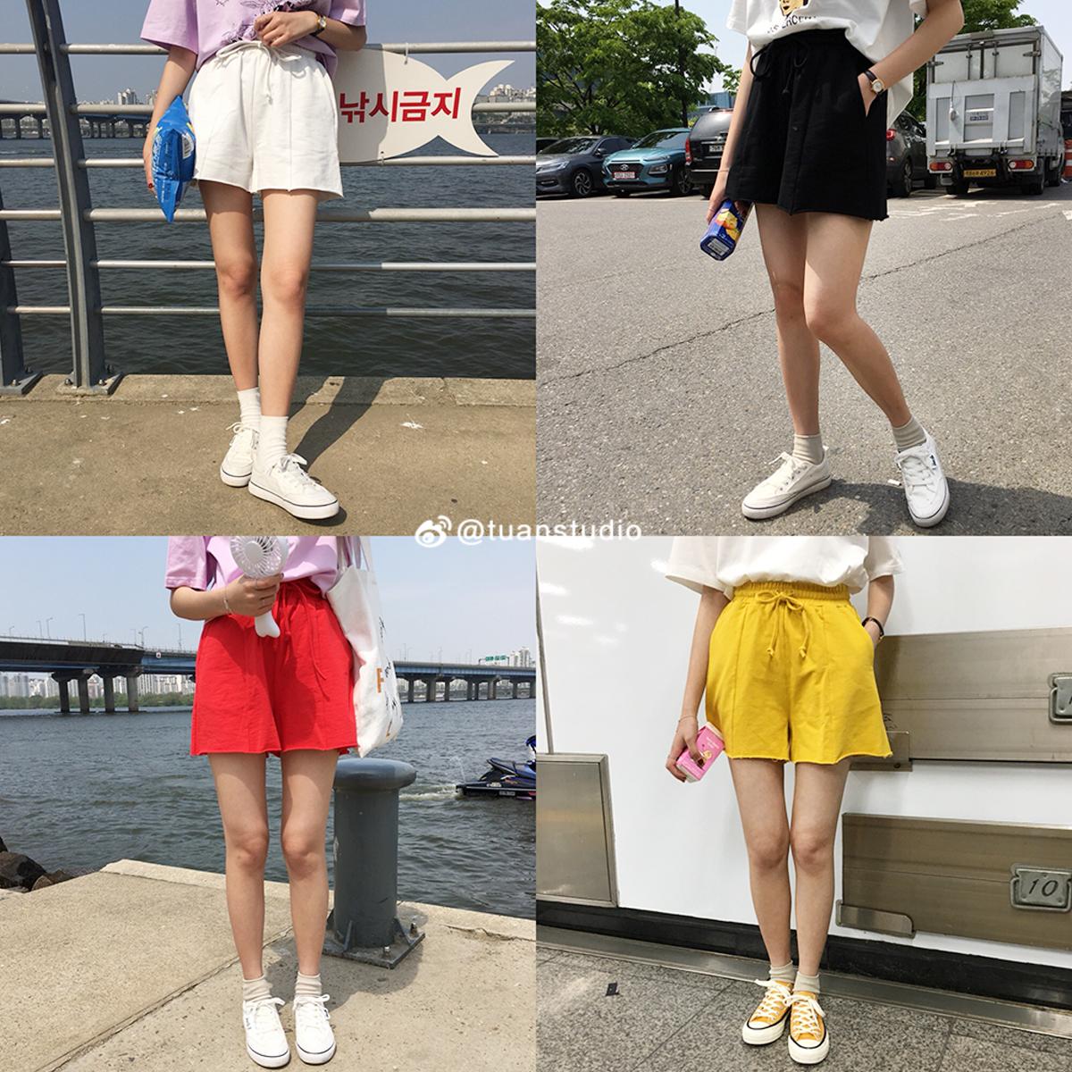 6折清仓 2018短裤女夏天运动裤休闲裤百搭纯色松紧腰宽松短裤女.