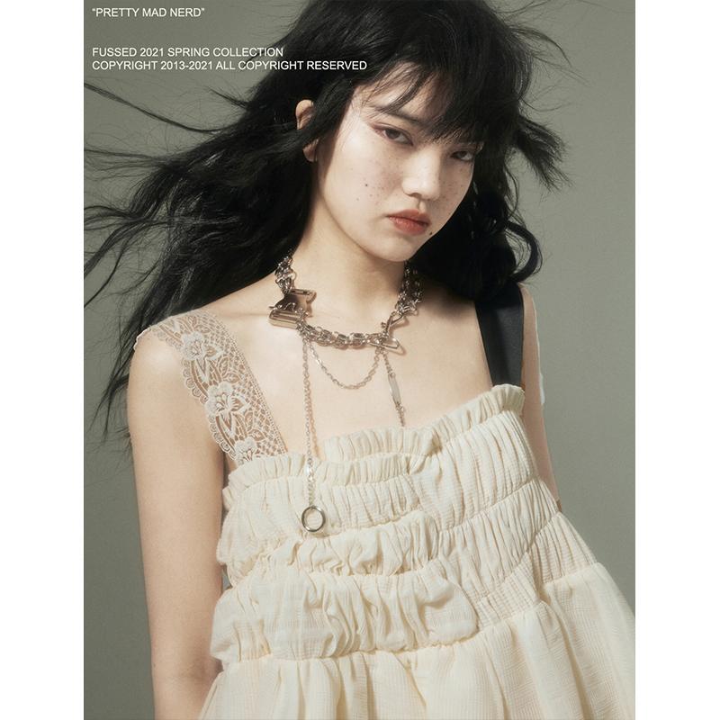 FUSSED 原创小众独立设计师品牌女装 不规则褶皱吊带连衣裙女夏季