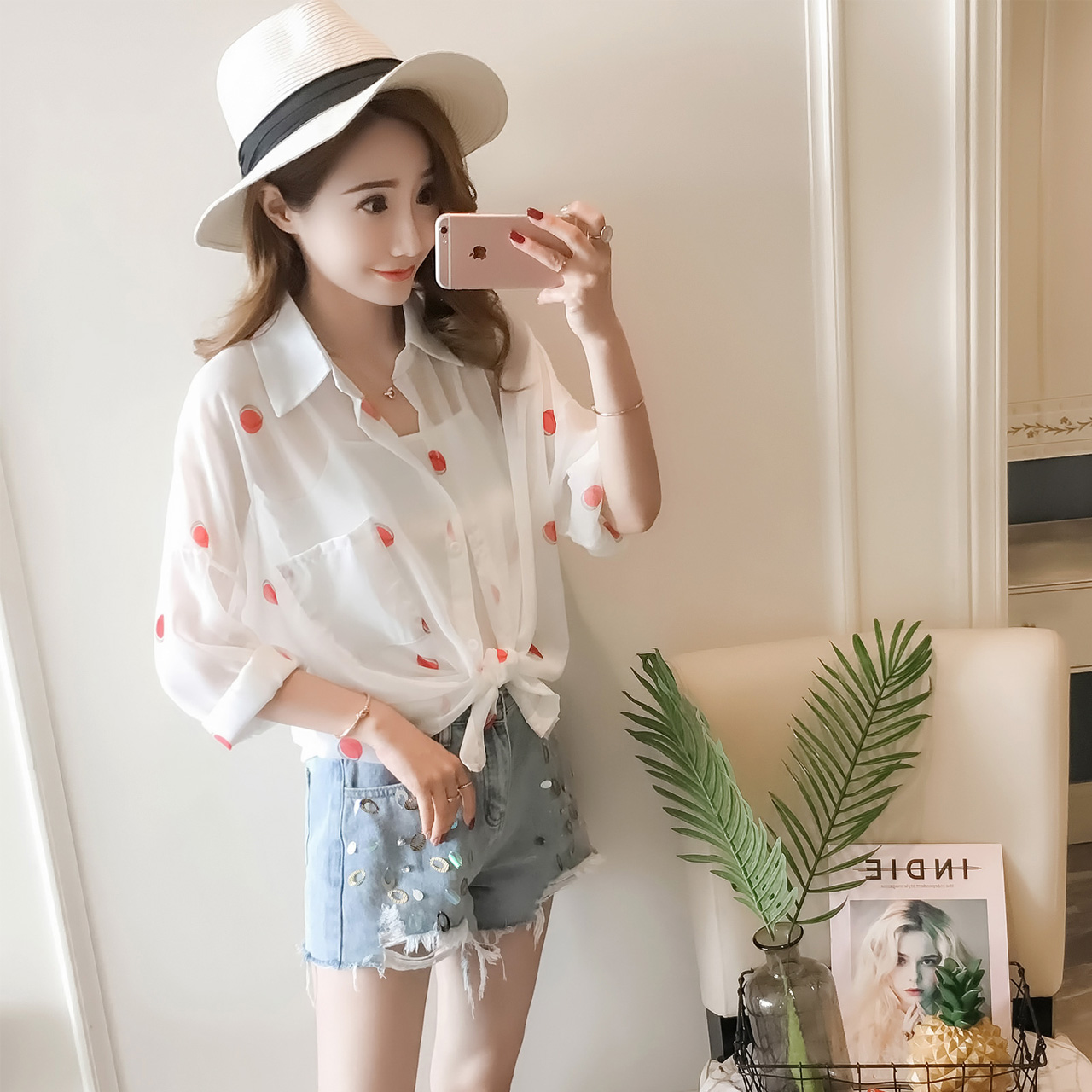 翻领雪纺衬衫女夏2018新韩版打底吊带+圆点衬衣清新时髦两件套