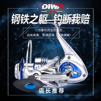 迪瓦14轴渔轮全金属渔线轮正品海竿路亚锚鱼轮纺车轮海杆轮鱼线轮