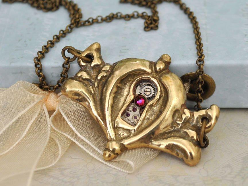 定制。限量。美国vintage黄铜心形锁孔门锁 蒸汽朋克项链机械表芯