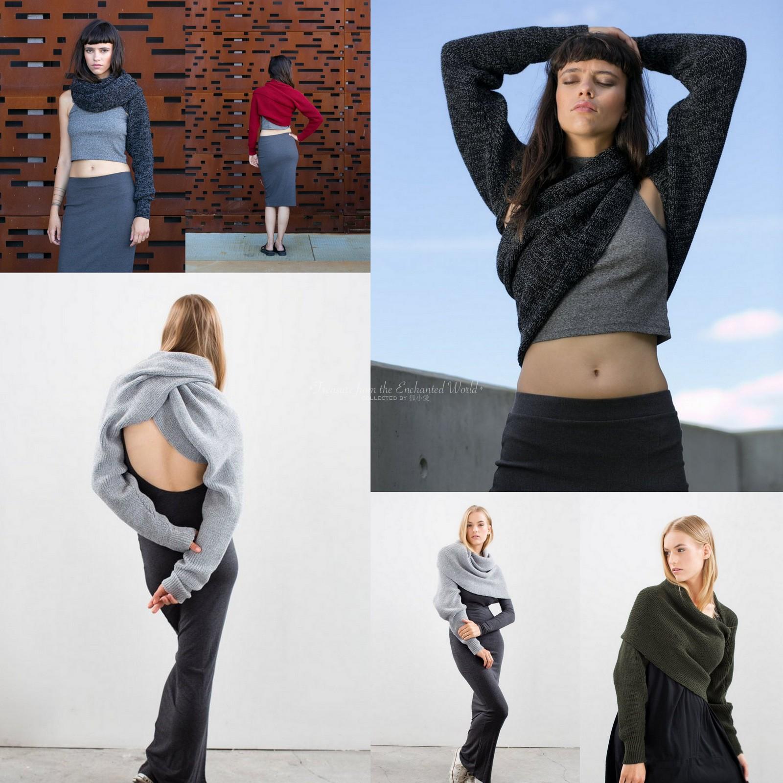 定制。波兰百变女人多功能毛线袖子裹胸缠绕围脖围巾原创手工