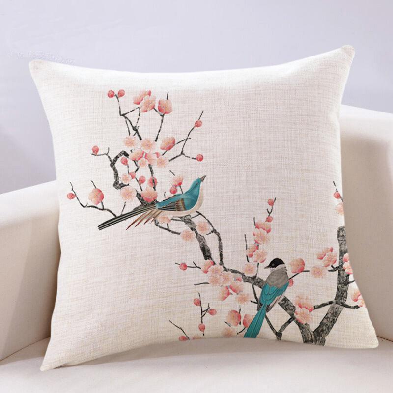 中式抱枕靠垫中国风梅花复古高档红木家具客厅沙发大靠背棉麻靠枕(非品牌)