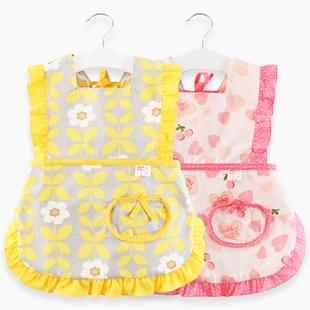 防水吃饭宝宝罩衣女孩春秋画画婴儿围兜纯棉洋气防脏秋冬儿童围裙