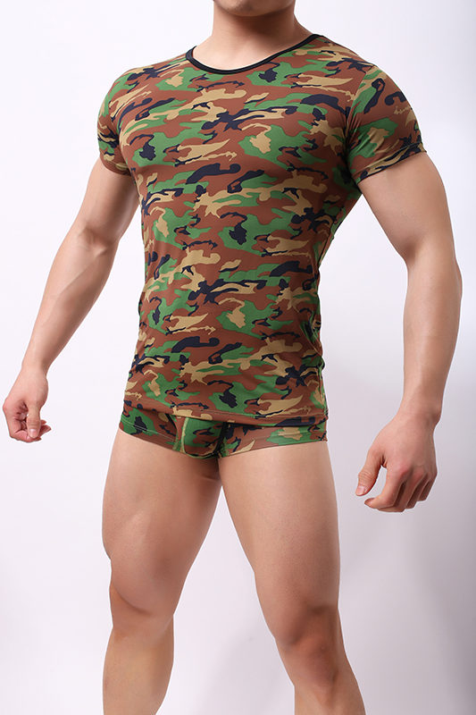 Mens large short sleeve trendy soft camouflage mens T-shirt hygroscopic and breathable mens round neck camouflage short sleeve T-shirt
