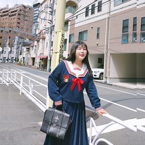 硬糖大碼女裝秋裝2019原創改良JK制服魔女的旅行遮肚減齡寬松上衣