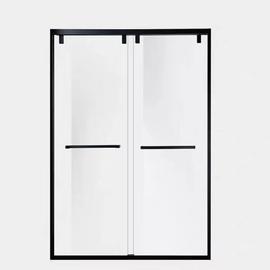 金色窄边卫生间隔断钢化玻璃淋浴房 一字304不锈钢移门厕所推拉门