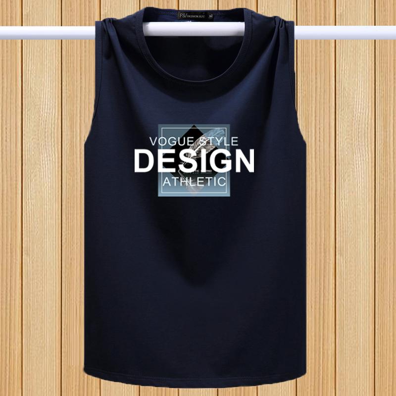 Vest mens summer elastic cotton round neck wide shoulder sports cantilevered mens breathable large cantilevered sleeveless vest mens fashion