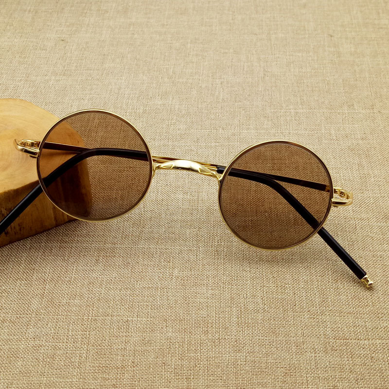 High grade natural crystal glasses mens and womens round frame stone mirror small retro round Fashion genuine Sunglasses