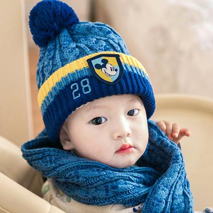 迪士尼儿童帽子围巾套装男童女童围脖潮保暖宝宝围巾婴儿帽子秋冬