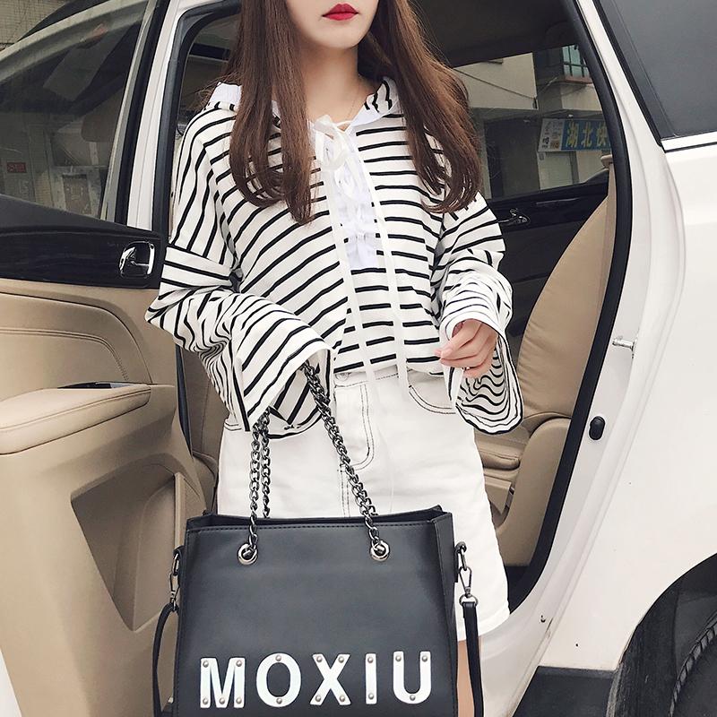 2018春季新款韩版宽松学生长袖t恤系带连帽上衣女条纹打底衫潮