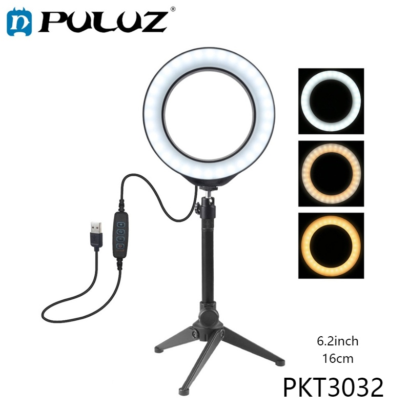 PULUZ 3 Modes Dimmable LED Ring Youtube Vlog Video Lights6.2