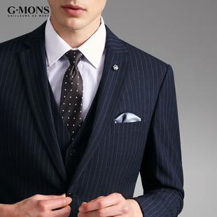西服套装男士条纹商务正装新郎结婚礼服春秋修身西装三件套藏青色