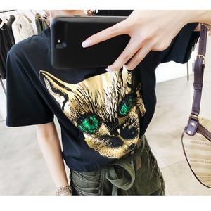 LIN  T恤女短袖个性时尚潮流 圆领可爱重工猫头T恤显瘦(两色)