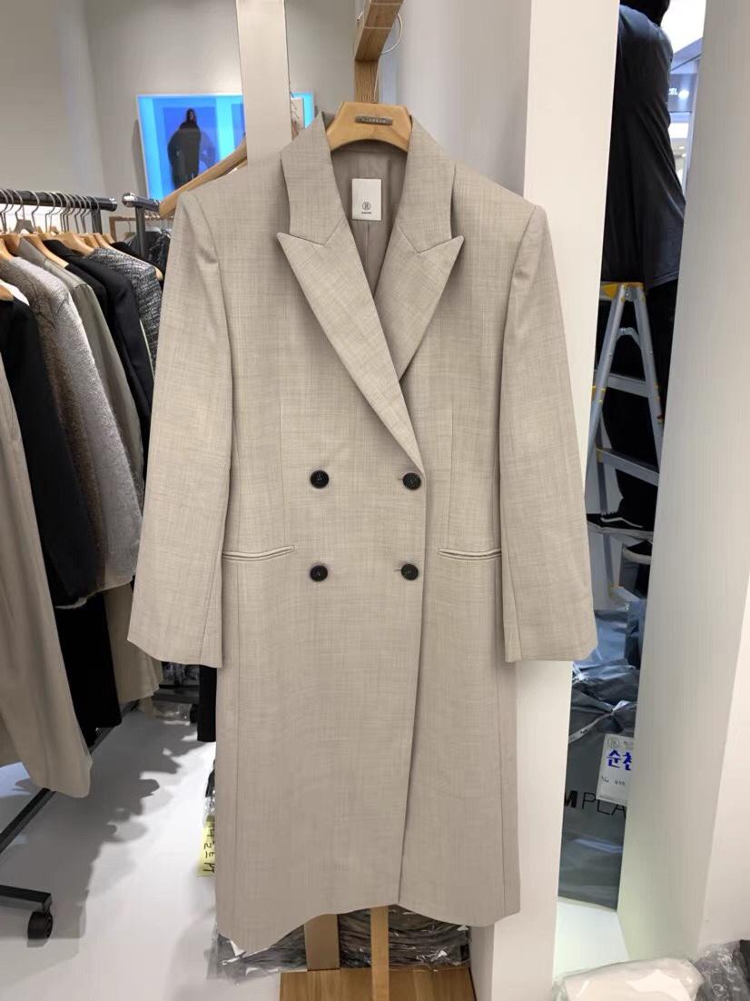 BLOSSOM韩国东大门代购时尚设计师翻领双排扣气质西装长款外套sm