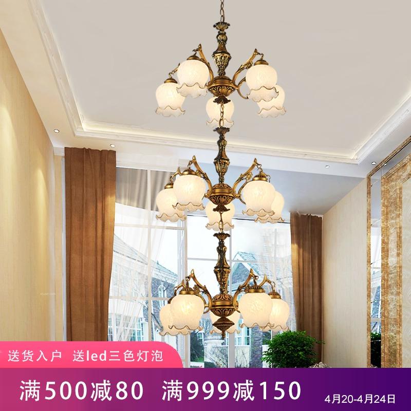 欧式复式楼客厅大吊灯美式中空别墅灯具中式楼梯间旋转楼梯长吊灯