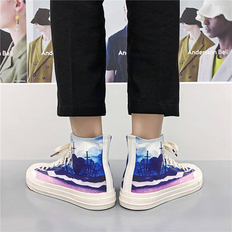 2021 spring high top canvas shoes mens fashion printed shoes mens shoes single shoes mens board shoes 9072 rubber round head
