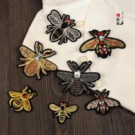 手工钉珠蜜蜂布贴立体水钻服装装饰刺绣辅料配件 DIY衣服包包补丁