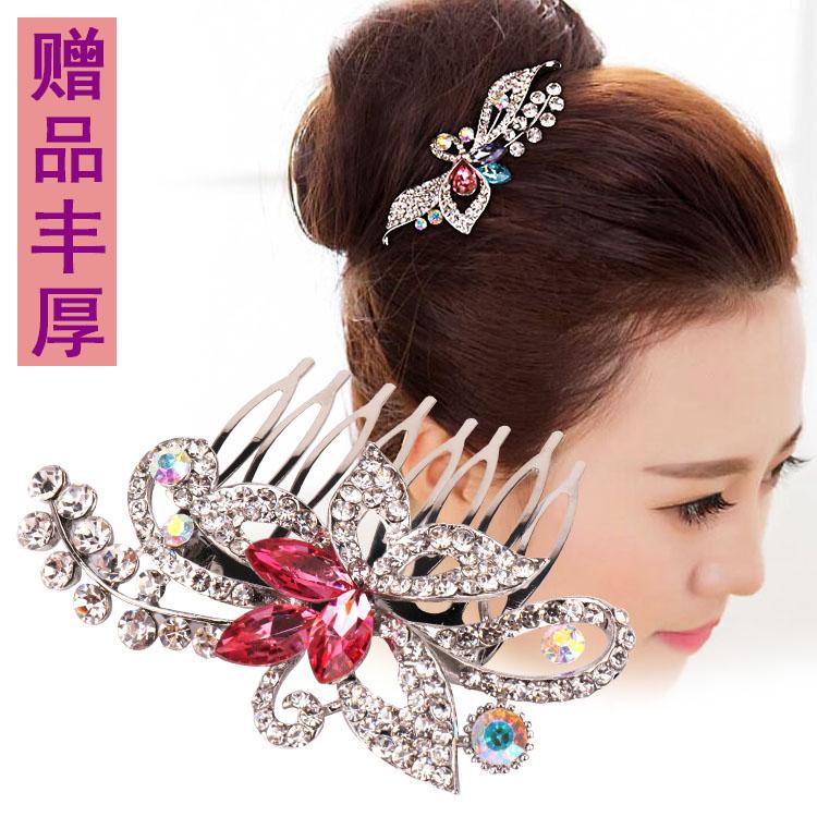 韩国孔雀花朵水钻发梳刘海梳潮款百搭丸子头盘发插梳镶钻发夹饰品