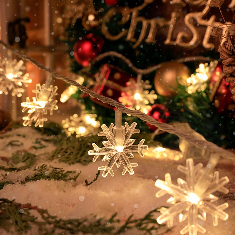 ins雪花led小彩灯串灯插电款电池灯饰圣诞节树装饰宿舍床上用网红