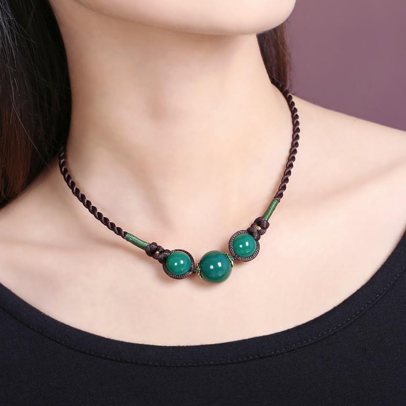短款锁骨项链绿玛瑙简约复古脖子装饰品百搭衣服配饰民族风颈链女
