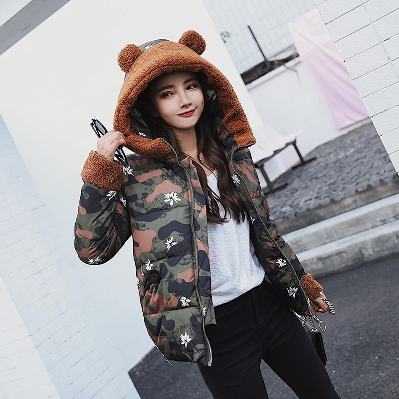 实拍2017冬新韩版短款学生装加厚羽绒服印花植绒保暖棉衣外套